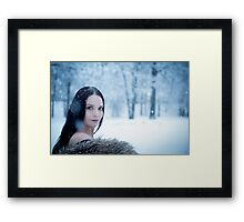 glamour portrait in the winter Framed Print