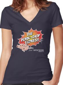 Pork Chop Express - Distressed Light Glow Variant Women's Fitted V-Neck T-Shirt