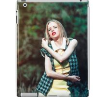 Portrait of a beautiful woman with a braid and flower on natural background iPad Case/Skin