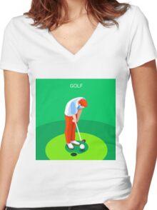 Golf 2016 Summer Games 3D Women's Fitted V-Neck T-Shirt