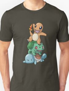 Charmander, Bulbasaur and Squirtle Unisex T-Shirt