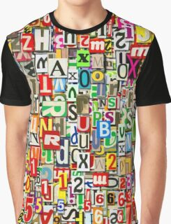 Digital Letter Collage Graphic T-Shirt