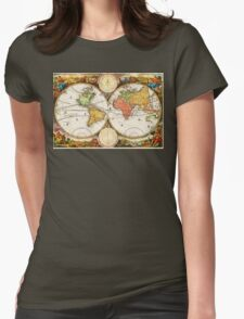 Map of the World in two Hemispheres Womens Fitted T-Shirt