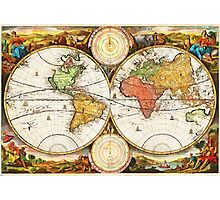 Map of the World in two Hemispheres Photographic Print