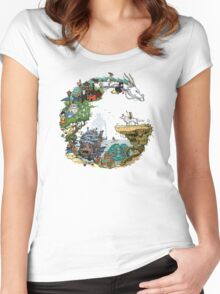 Ghibli Circle Women's Fitted Scoop T-Shirt