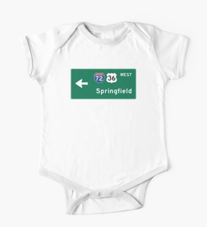Springfield, Road Sign, IL One Piece - Short Sleeve
