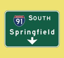 Springfield, Road Sign, MA Kids Tee