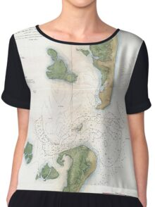 Vintage Map of The Barnegat Inlet (1865) Chiffon Top