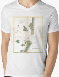 Vintage Map of The Barnegat Inlet (1865) Mens V-Neck T-Shirt