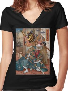 MYSTERY SCIENCE KABUKI Women's Fitted V-Neck T-Shirt