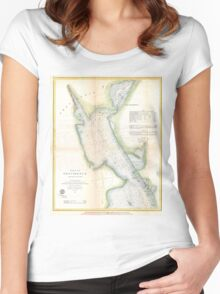 Vintage Port of Providence Rhode Island Map (1865) Women's Fitted Scoop T-Shirt