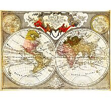 Map of the World on a Hemisphere Projection Photographic Print