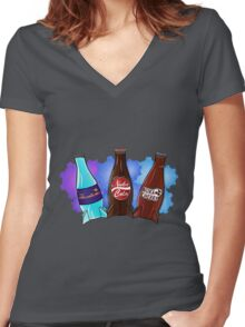 Quantum Nuka Cola Nuke Cherry Women's Fitted V-Neck T-Shirt