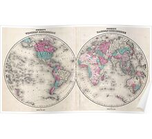Vintage Map of The World (1866) Poster