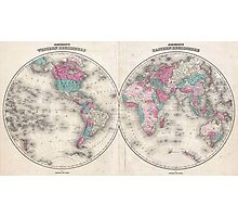 Vintage Map of The World (1866) Photographic Print