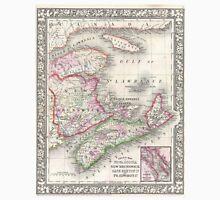 Vintage Nova Scotia and New Brunswick Map (1866) Unisex T-Shirt