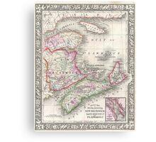 Vintage Nova Scotia and New Brunswick Map (1866) Canvas Print