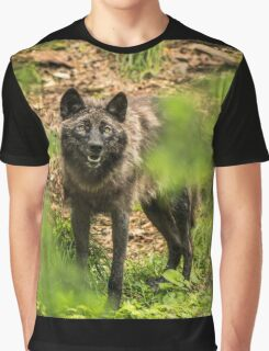 Black Wolf In Forest Graphic T-Shirt