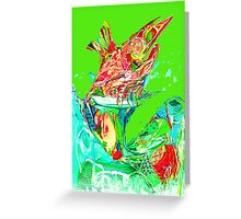 Fluro Coloured Happy Fish  Greeting Card