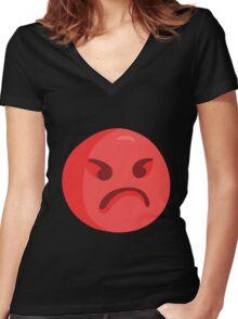 ANGERY Women's Fitted V-Neck T-Shirt