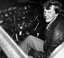 Amelia Earhart Sitting In Airplane Cockpit by warishellstore