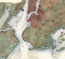 Vintage Map of New York City Harbor (1866) Sticker