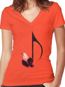 Born to sing - Orange Women's Fitted V-Neck T-Shirt