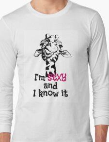 head of sexy giraffe hipster Long Sleeve T-Shirt