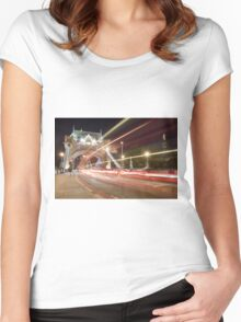 Tower Bridge at night, London Women's Fitted Scoop T-Shirt