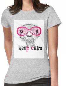 bird head ostrich lettering Womens Fitted T-Shirt