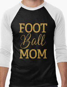 Football Mom With Gold Sequins Black Men's Baseball ¾ T-Shirt
