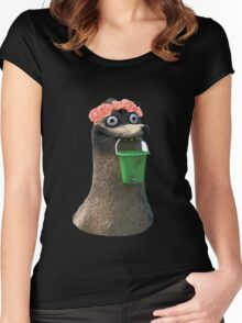 Gerald Finding Dory Flower Crown No Background Transparent Sticker Women's Fitted Scoop T-Shirt