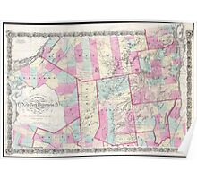 Vintage Map of The Adirondack Mountains (1867) Poster
