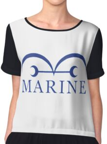 manga one piece marine Chiffon Top