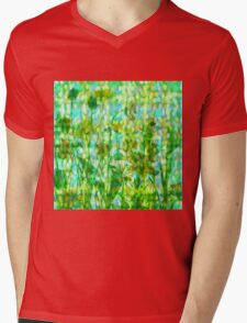 Green Flower BLING Mens V-Neck T-Shirt