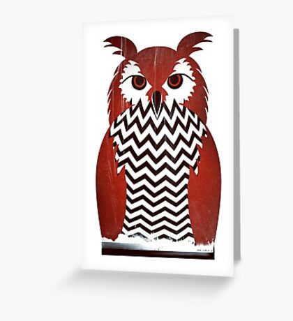 Owl Black Lodge Red White Twin Peaks Inspired Red Room Greeting Card