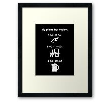 Plans for today - White text Framed Print