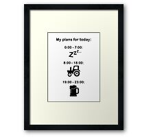 Plans for today - Black text Framed Print