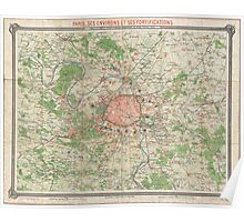 Vintage Map of the Paris France Vicinity (1870) Poster