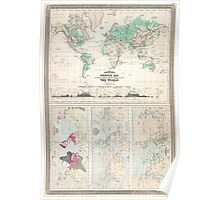 Vintage Physical & Climate Map of The World (1870) Poster