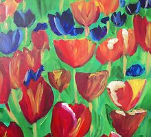 Abstract Tulips by Susan Waby