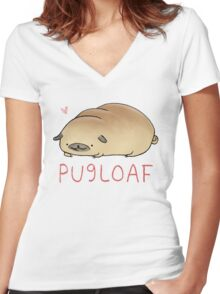 Pugloaf Women's Fitted V-Neck T-Shirt