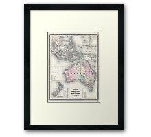 Vintage Australia & Southeastern Asia Map (1870) Framed Print