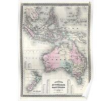 Vintage Australia & Southeastern Asia Map (1870) Poster