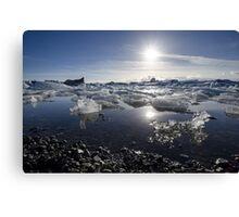 Melting ice in Jokulsarlon glacier lagoon, Iceland Canvas Print