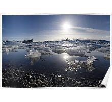 Melting ice in Jokulsarlon glacier lagoon, Iceland Poster
