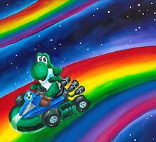 Yoshi on Rainbow Road by Katie Clark