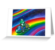 Yoshi on Rainbow Road Greeting Card