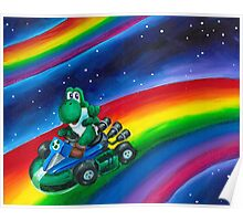 Yoshi on Rainbow Road Poster