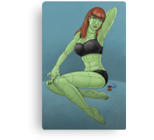 Stitched - Retro Monster Pinup Canvas Print